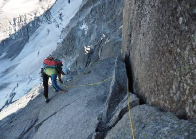 Less steep groove after the crux 5b corner
