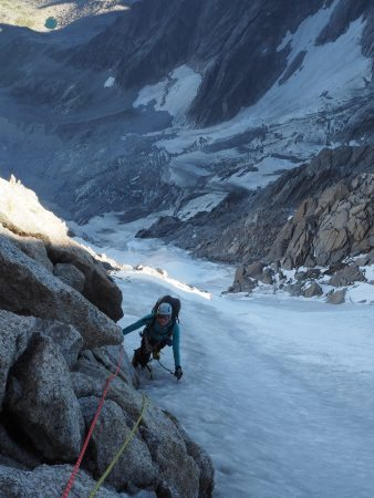 Belay just before the steeper ice pitch